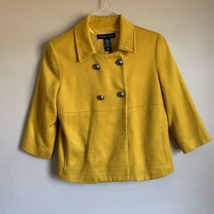 Mustard Woven Blazer Double breasted 3/4 sleeves